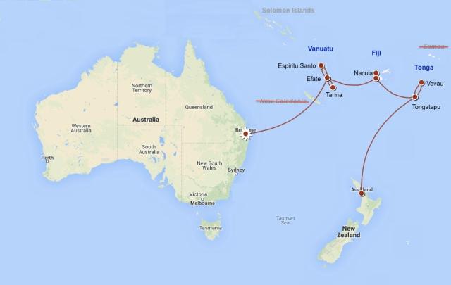 Auckland - Tongatapu - Vava'u - Tongatapu - Viti Levu (Fiji) - Nacula - Viti Levu - Efate - Espiritu Santo - Efate - Tanna - Efate - Brisbane