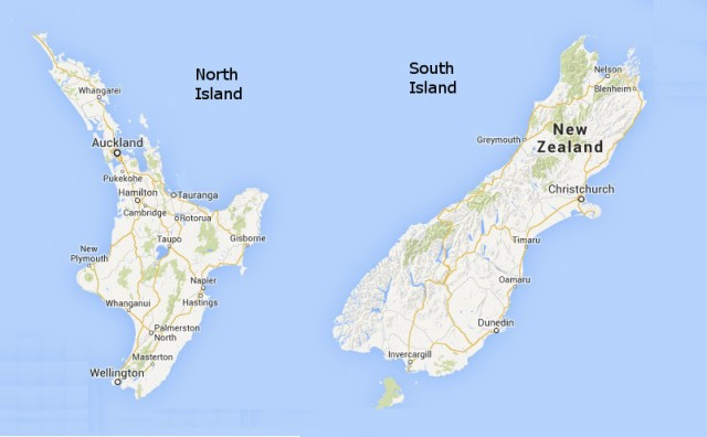 Map New Zealand Islands