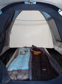 preparing for the first night in our tent.