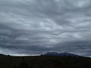 ... covering the mountains in a grey blanket!
