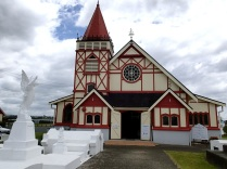 Saint Faiths Anglican church right next to a Maori village