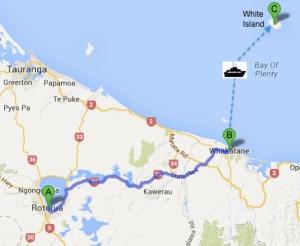 Whakatane travel route
