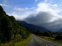 The road south was taking us right into these dark clouds