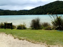 Awaroa Inlet estuary at high tide … this is where we would have to walk across the next morning.