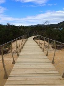 planked walkway in Onetahuti bay