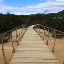 planked walkway in Onetahuti bay