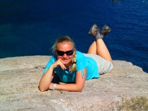 Bea resting with the seals