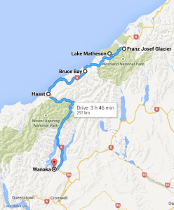 travel route to Wanaka