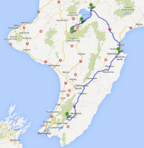 travel route from Whakapapa to Waiohine