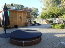 Spa area with hot tubs and wood fired sauna
