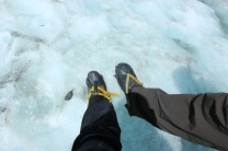 grampons … really helpful when walking on a glacier