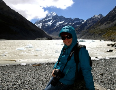Bea at the Hooker Glacier lake