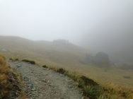 Harris Saddle shelter in the mist