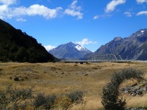 bridge to Tasman Glacier Lake