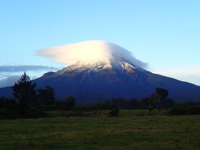 Mount Taranaki with cloud beanie