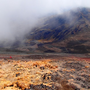 descending from the volcano