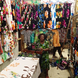 hundreds of colourful dresses and sarongs