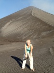 Bea posing in front of the volcano