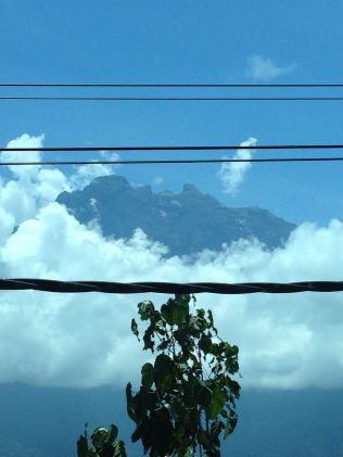 Mount Kotakinabalu from the window of our bus (sadly with the ever present power lines right in the middle of the picture)